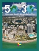 50 by 30 logo  hallandale beach's climate action plan with aerial photo of the city looking from offshore towards the city