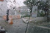 rain droplets through a window