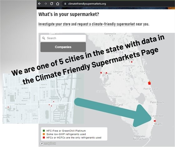 We are one of 5 cities in the state with data in climate friendly supermarkets