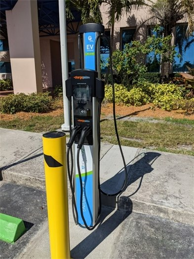 close up of electric vehicle charging station