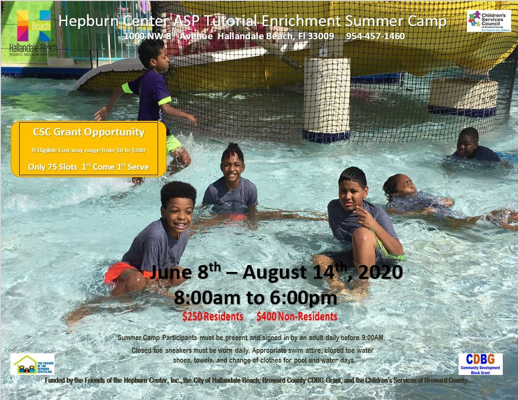 City of Hallandale Beach-Summer Camp Flyer 2020. Fun in the sun – the water park scene displays exam